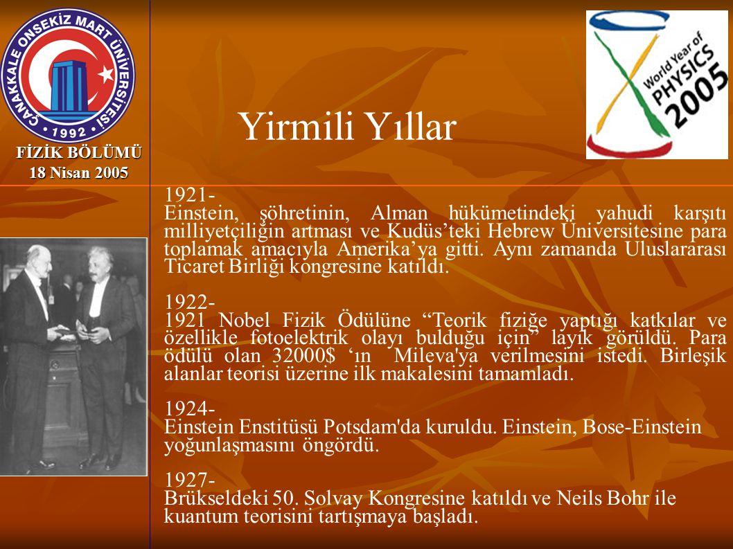Yirmili Yıllar FİZİK BÖLÜMÜ 18 Nisan 2005. 1921-