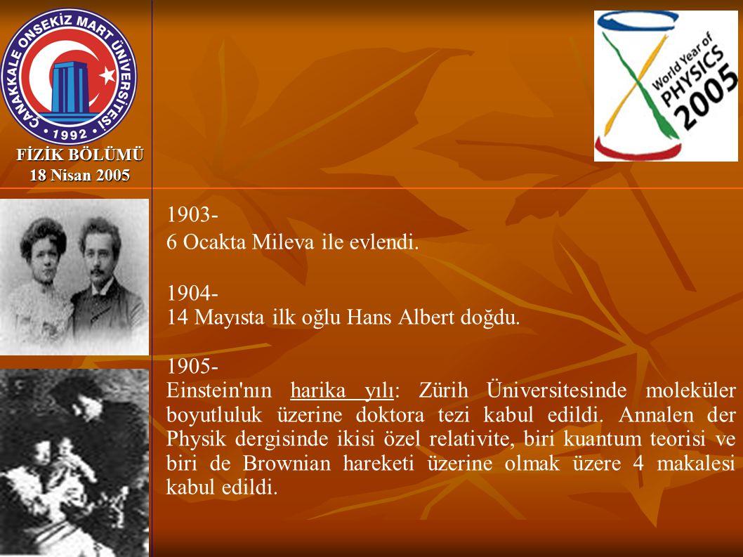 6 Ocakta Mileva ile evlendi. 1904-