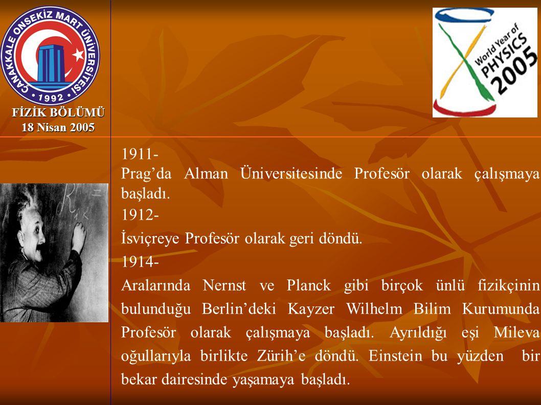 Prag'da Alman Üniversitesinde Profesör olarak çalışmaya başladı. 1912-