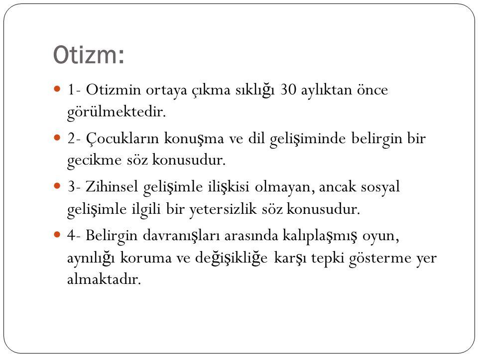 Otizm: 1- Otizmin ortaya çıkma sıklığı 30 aylıktan önce görülmektedir.