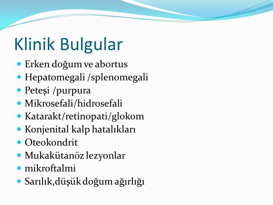 Klinik Bulgular Erken doğum ve abortus Hepatomegali /splenomegali