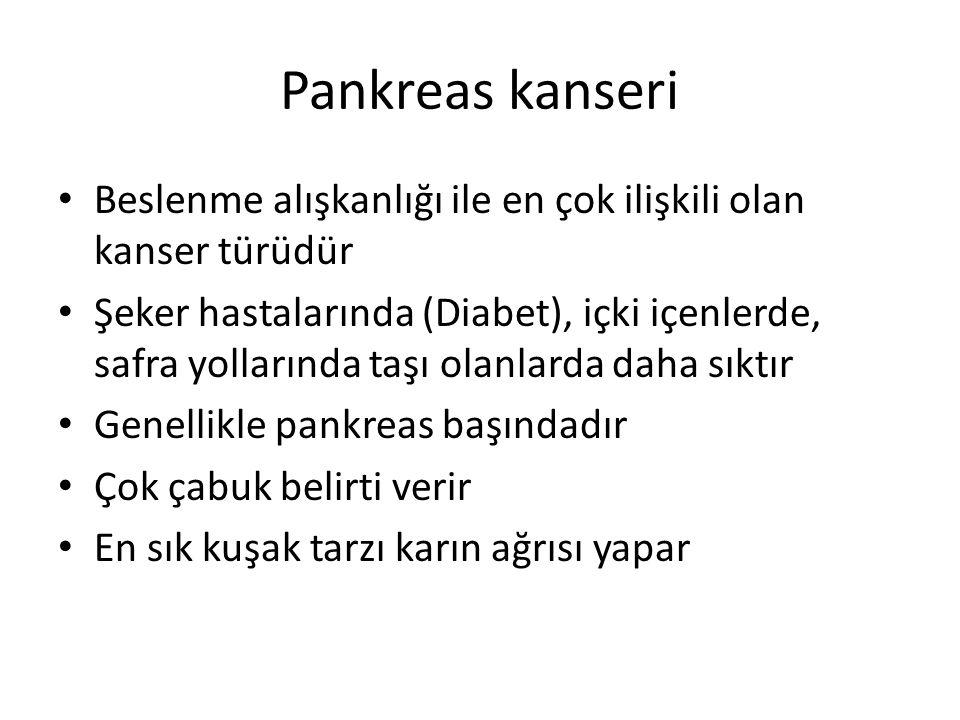 Pankreas kanseri Beslenme alışkanlığı ile en çok ilişkili olan kanser türüdür.