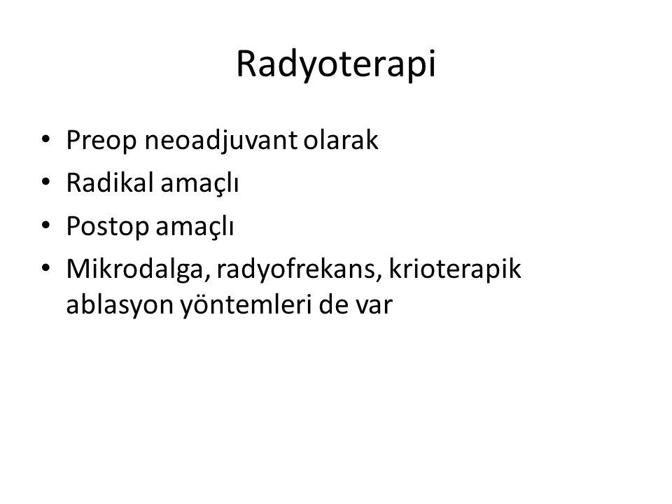 Radyoterapi Preop neoadjuvant olarak Radikal amaçlı Postop amaçlı