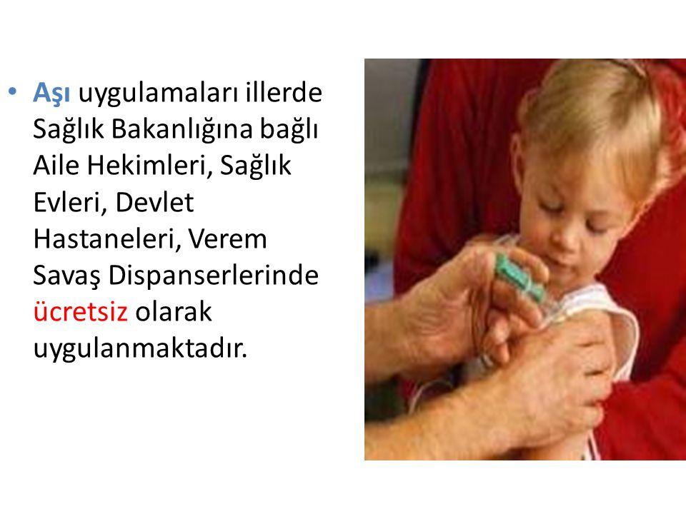 Aşı uygulamaları illerde Sağlık Bakanlığına bağlı Aile Hekimleri, Sağlık Evleri, Devlet Hastaneleri, Verem Savaş Dispanserlerinde ücretsiz olarak uygulanmaktadır.