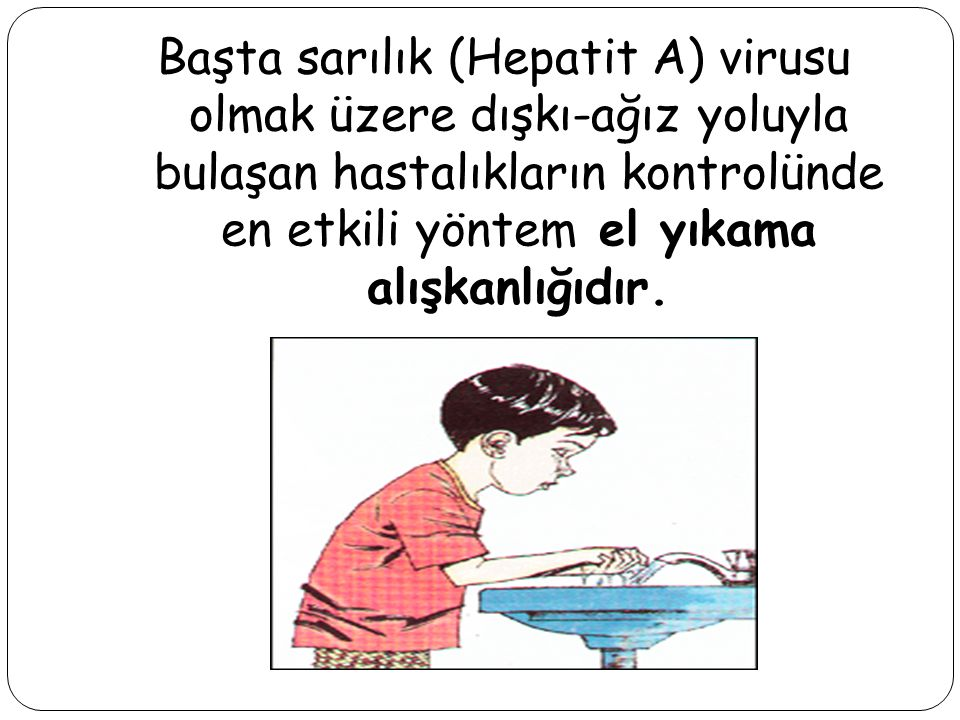Başta sarılık (Hepatit A) virusu olmak üzere dışkı-ağız yoluyla bulaşan hastalıkların kontrolünde en etkili yöntem el yıkama alışkanlığıdır.