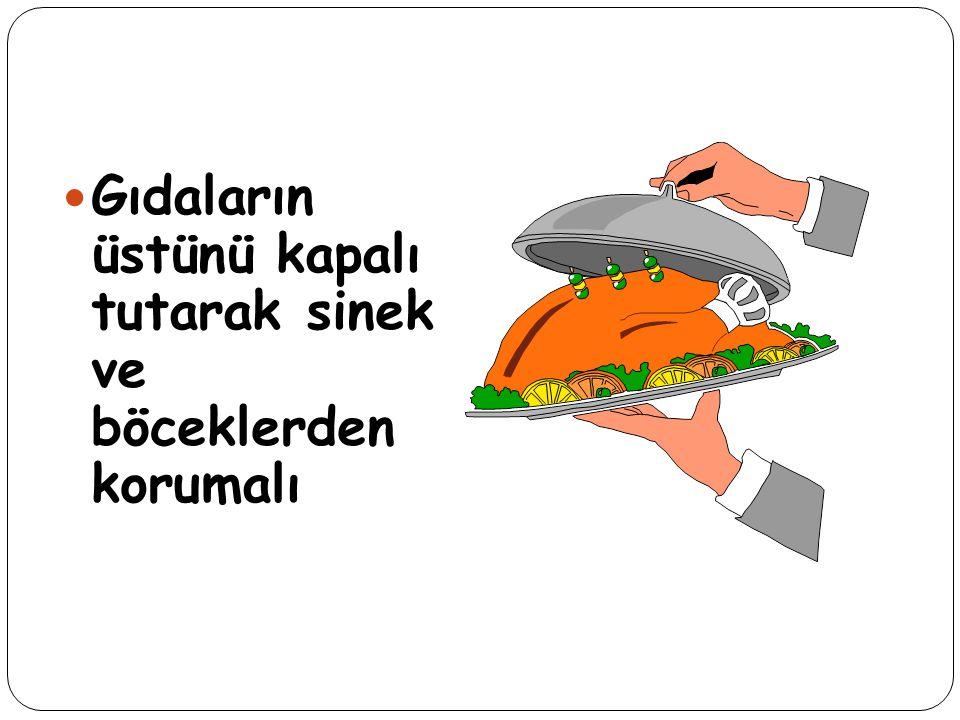 Gıdaların üstünü kapalı tutarak sinek ve böceklerden korumalı