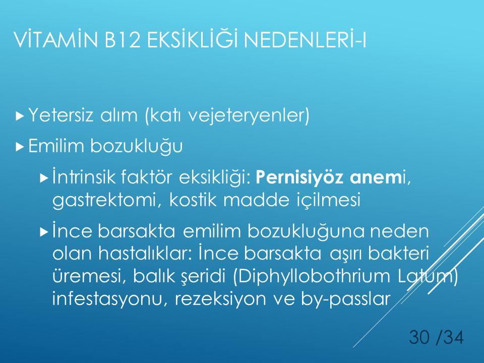 VİTAMİN B12 EKSİKLİĞİ NEDENLERİ-I
