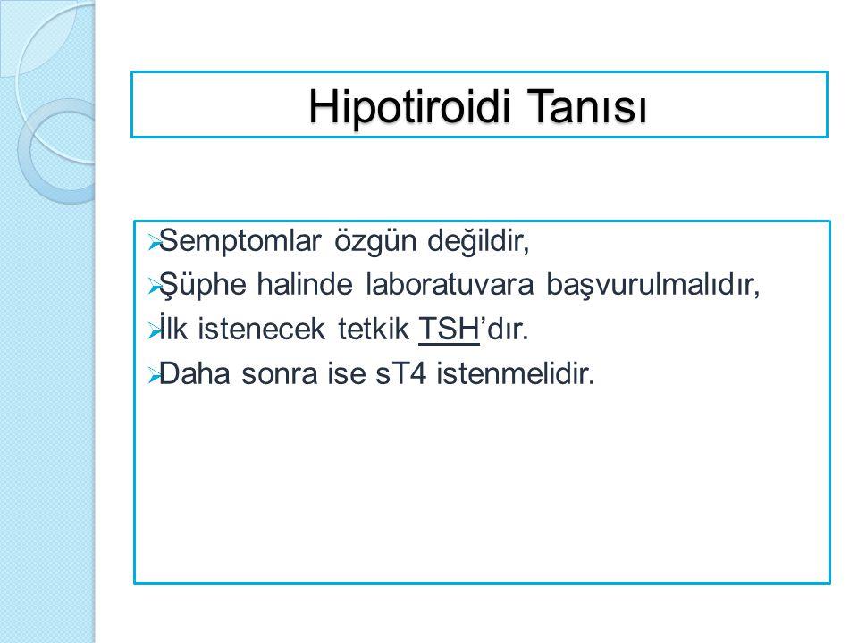 Hipotiroidi Tanısı Semptomlar özgün değildir,