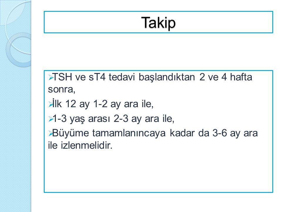 Takip TSH ve sT4 tedavi başlandıktan 2 ve 4 hafta sonra,