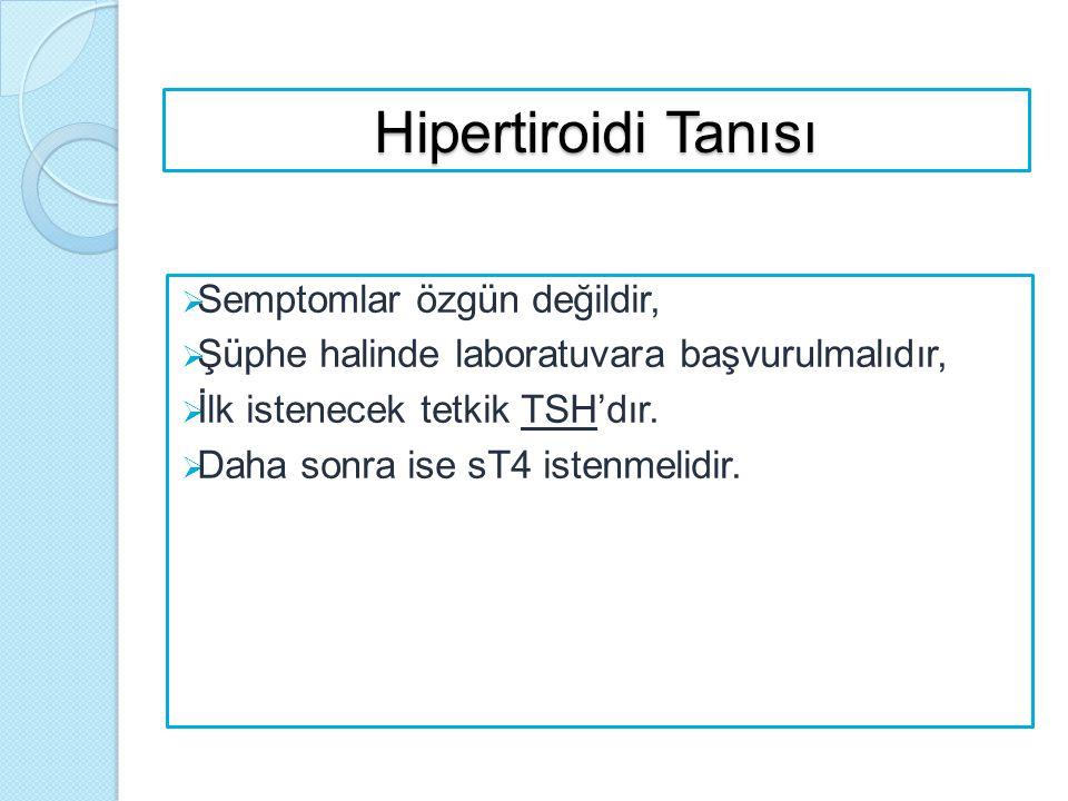 Hipertiroidi Tanısı Semptomlar özgün değildir,