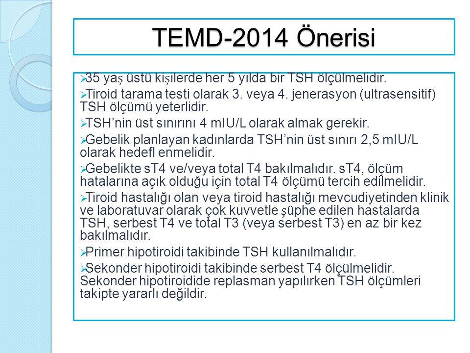 TEMD-2014 Önerisi 35 yaș üstü kișilerde her 5 yılda bir TSH ölçülmelidir.