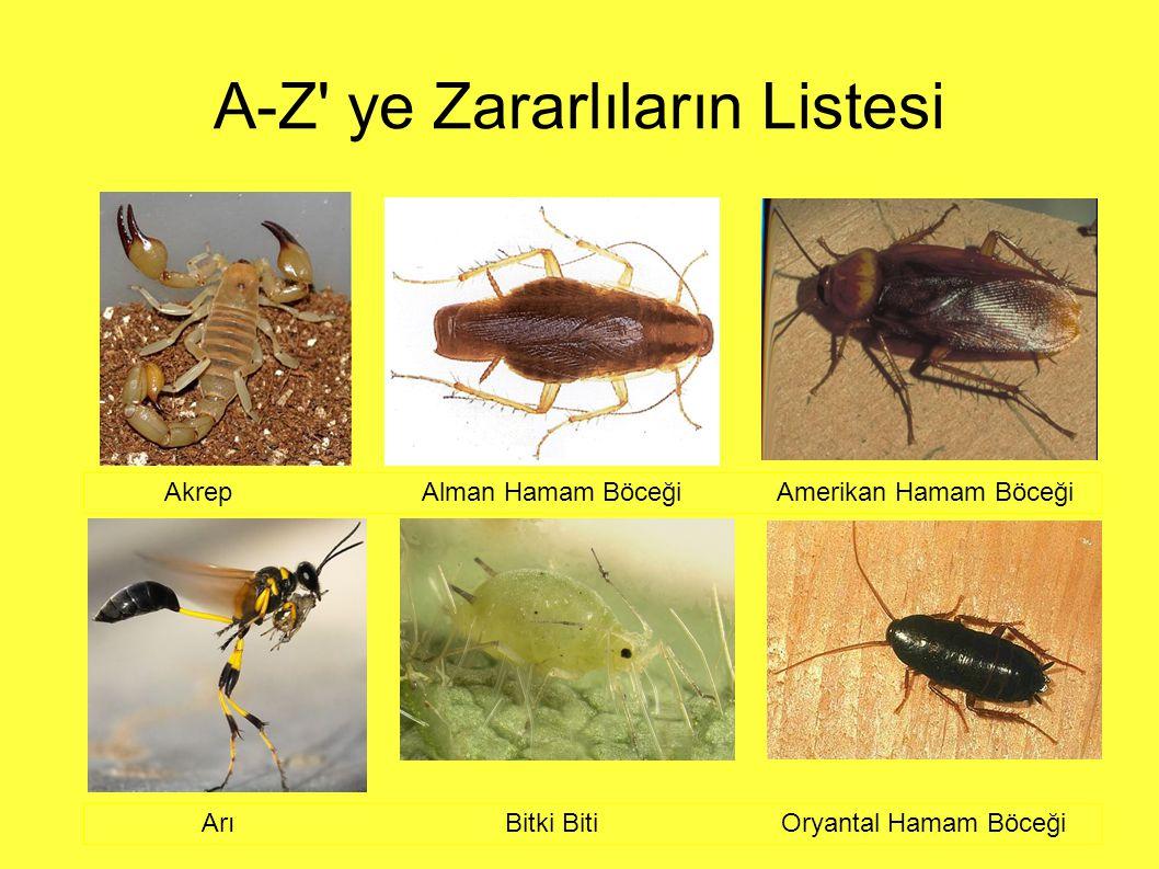 A-Z ye Zararlıların Listesi