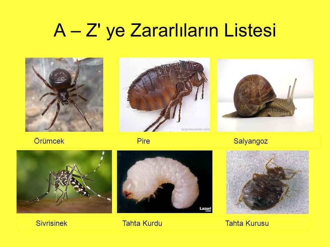 A – Z ye Zararlıların Listesi