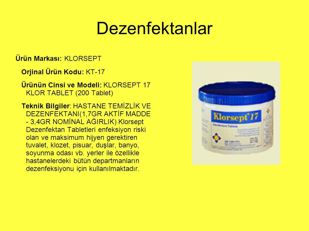 Dezenfektanlar Ürün Markası: KLORSEPT Orjinal Ürün Kodu: KT-17