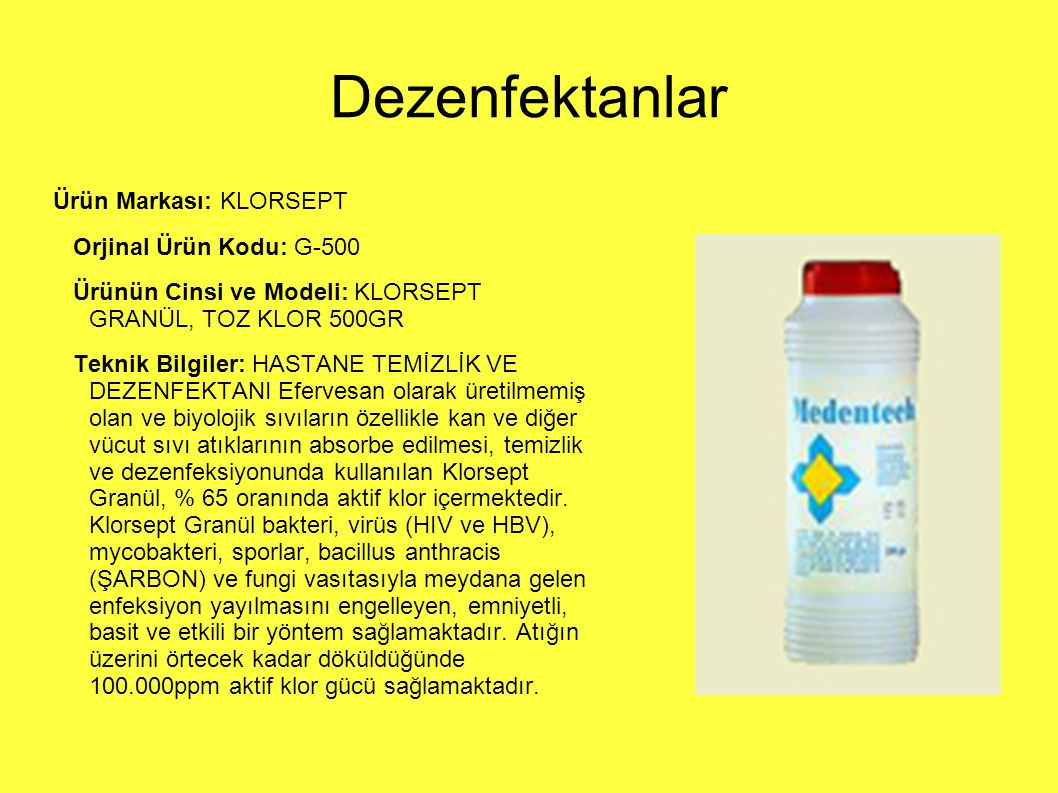 Dezenfektanlar Ürün Markası: KLORSEPT Orjinal Ürün Kodu: G-500