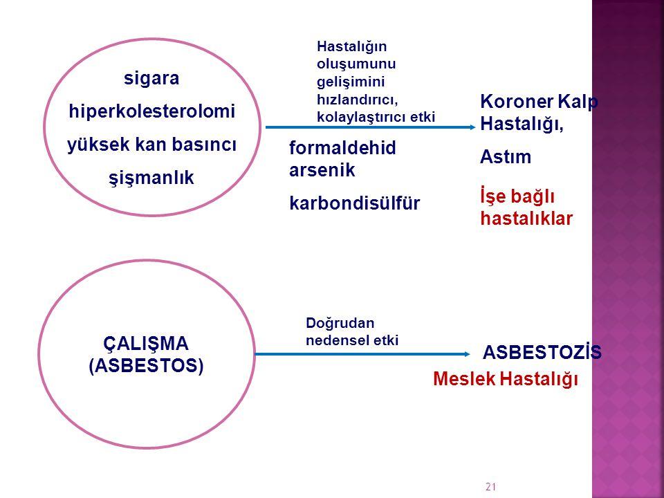 Koroner Kalp Hastalığı, Astım formaldehid arsenik karbondisülfür