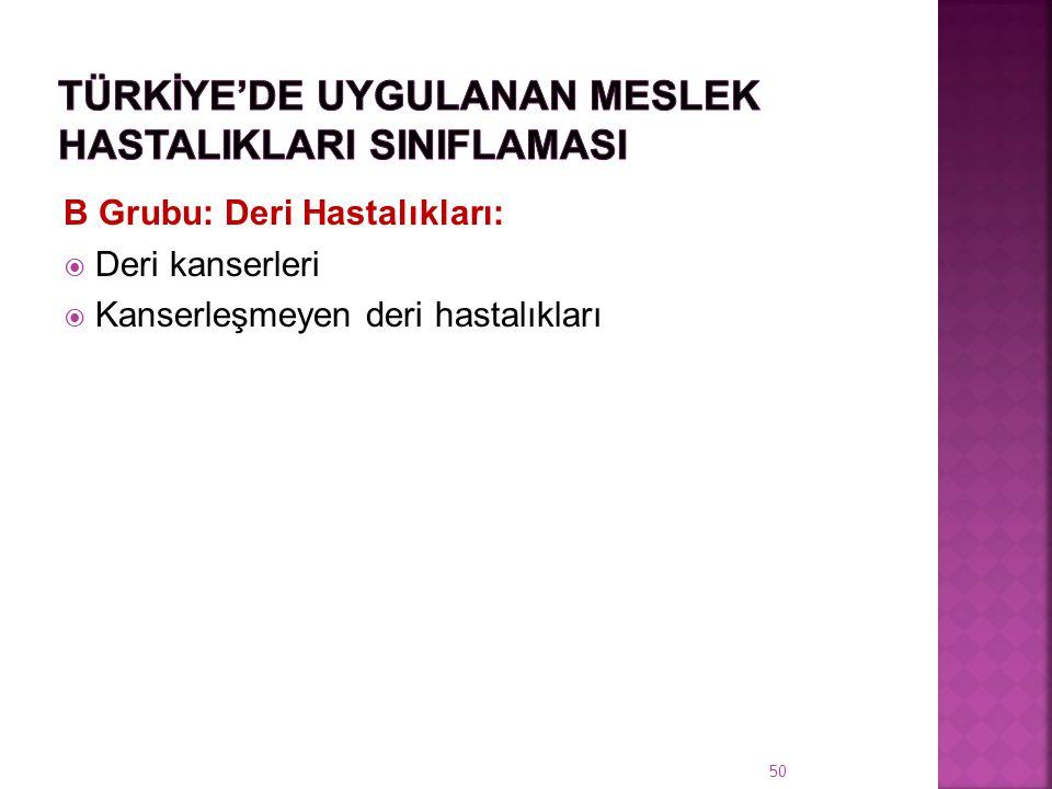 Türkİye'de Uygulanan Meslek HastalIklarI SInIflamasI