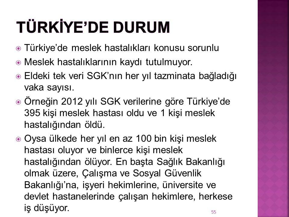Türkİye'de Durum Türkiye'de meslek hastalıkları konusu sorunlu