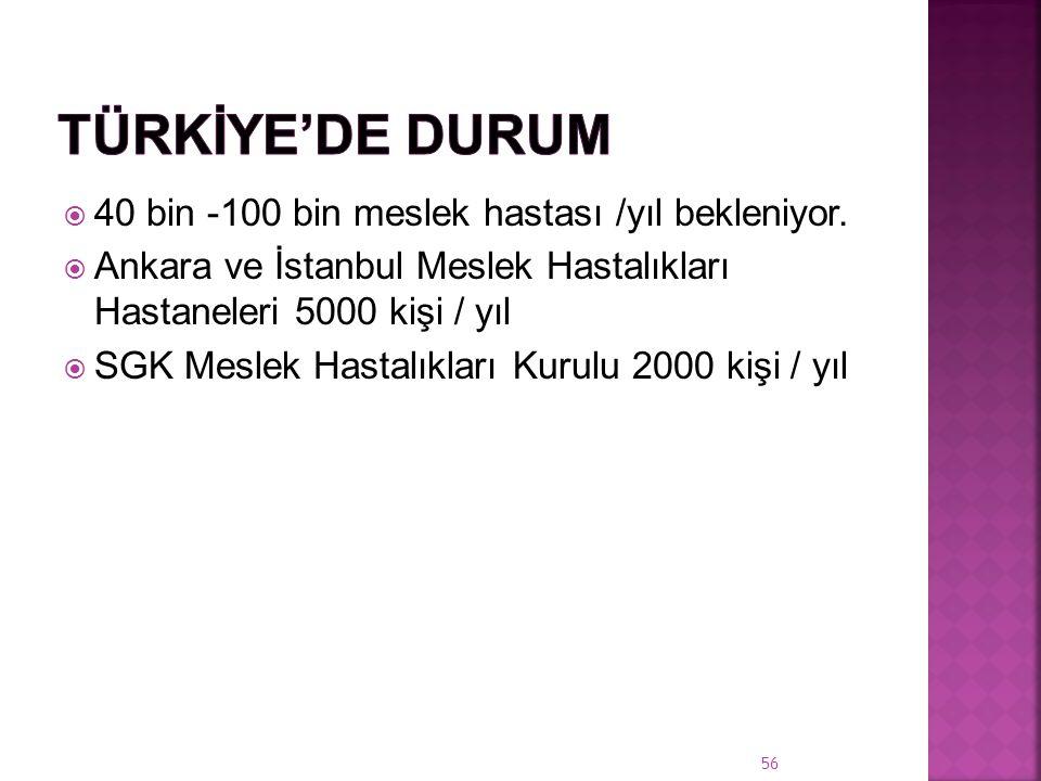 Türkİye'de Durum 40 bin -100 bin meslek hastası /yıl bekleniyor.