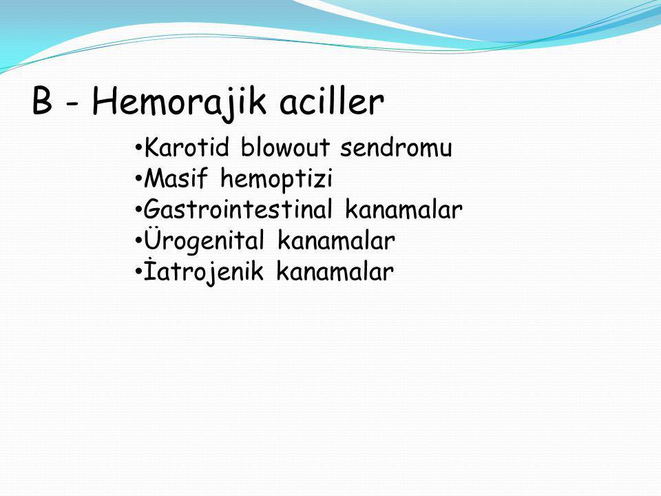 B - Hemorajik aciller Karotid blowout sendromu Masif hemoptizi
