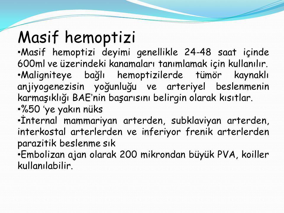 Masif hemoptizi Masif hemoptizi deyimi genellikle 24-48 saat içinde 600ml ve üzerindeki kanamaları tanımlamak için kullanılır.