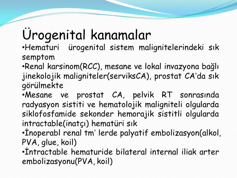 Ürogenital kanamalar Hematuri ürogenital sistem malignitelerindeki sık semptom.