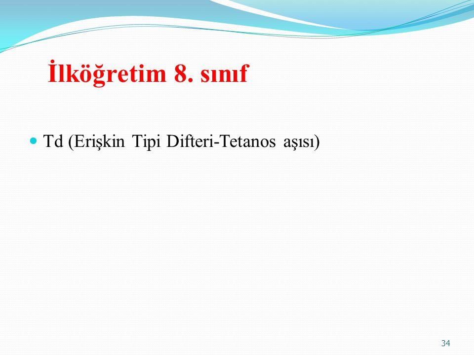 İlköğretim 8. sınıf Td (Erişkin Tipi Difteri-Tetanos aşısı)
