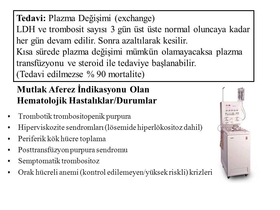 Mutlak Aferez İndikasyonu Olan Hematolojik Hastalıklar/Durumlar