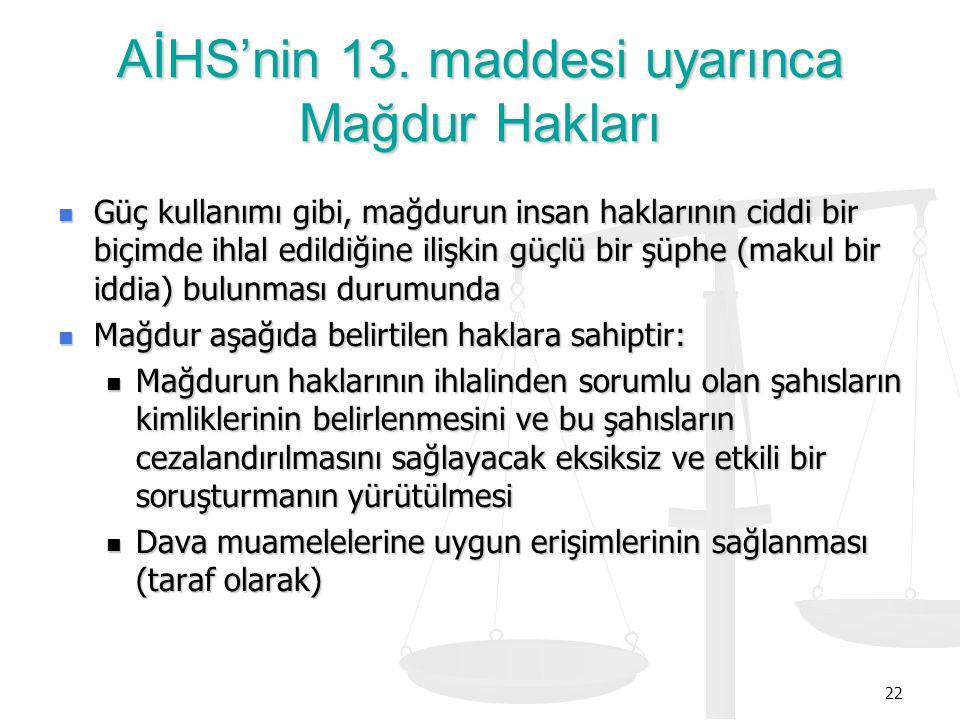 AİHS'nin 13. maddesi uyarınca Mağdur Hakları