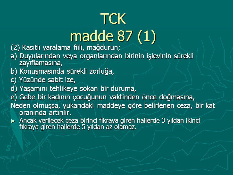 TCK madde 87 (1) (2) Kasıtlı yaralama fiili, mağdurun;