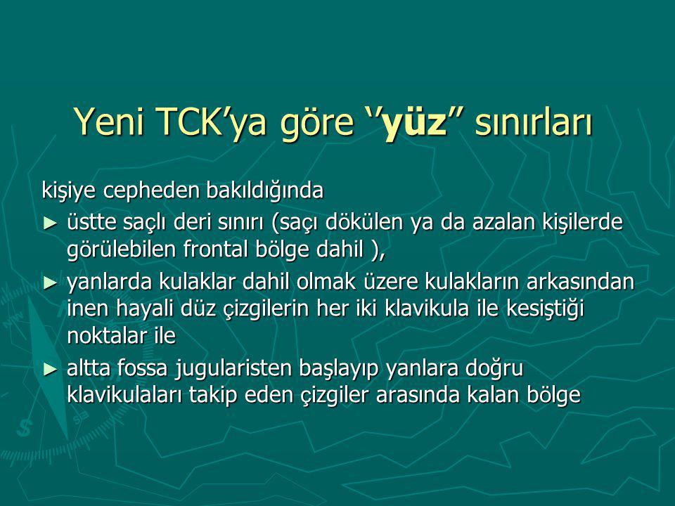 Yeni TCK'ya göre ''yüz'' sınırları