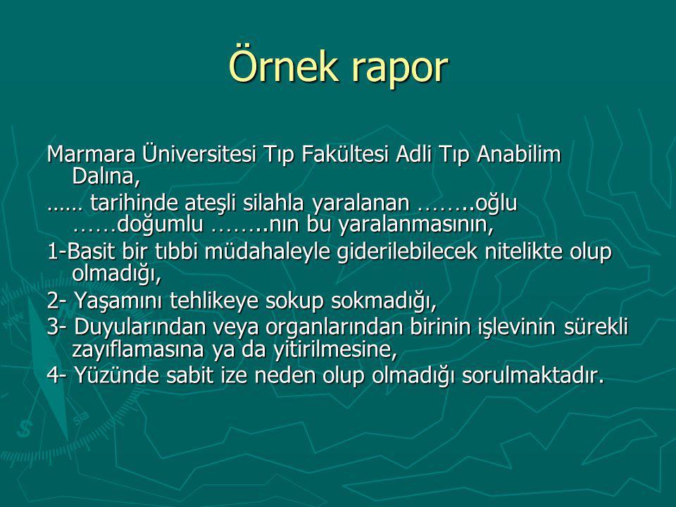 Örnek rapor Marmara Üniversitesi Tıp Fakültesi Adli Tıp Anabilim Dalına,