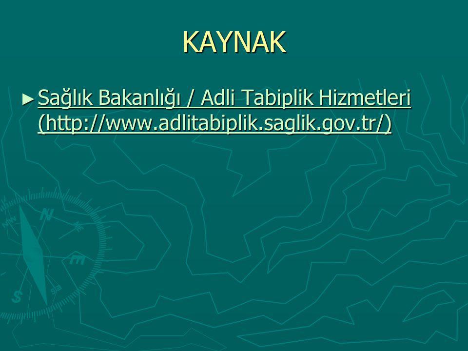 KAYNAK Sağlık Bakanlığı / Adli Tabiplik Hizmetleri (http://www.adlitabiplik.saglik.gov.tr/)