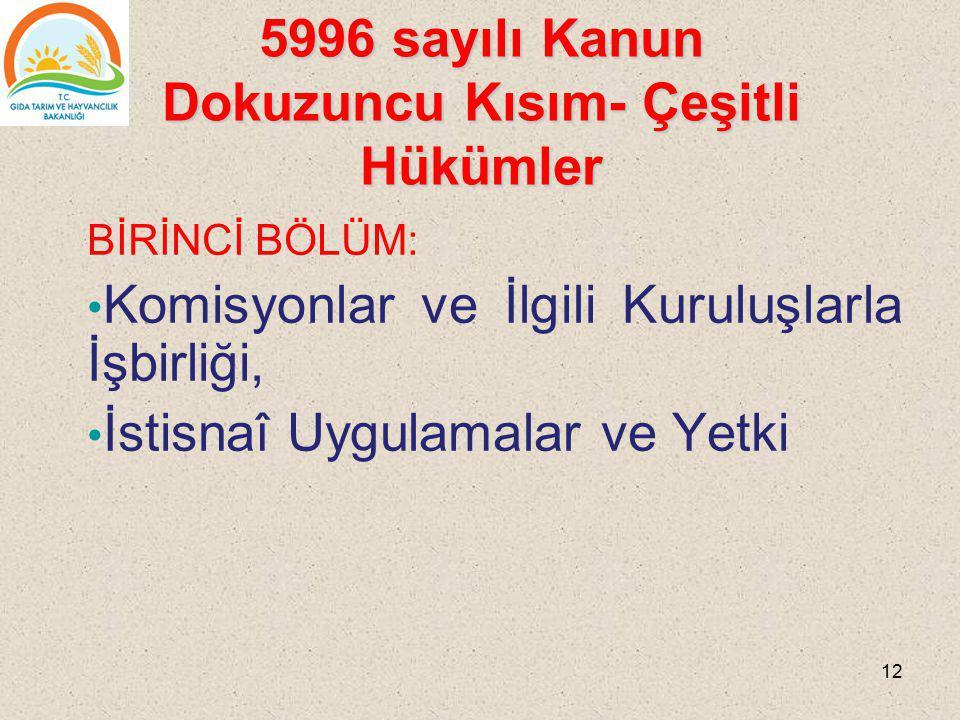 5996 sayılı Kanun Dokuzuncu Kısım- Çeşitli Hükümler