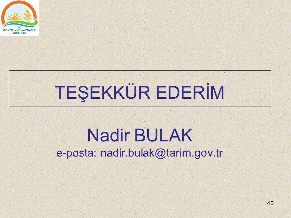 TEŞEKKÜR EDERİM Nadir BULAK e-posta: nadir.bulak@tarim.gov.tr