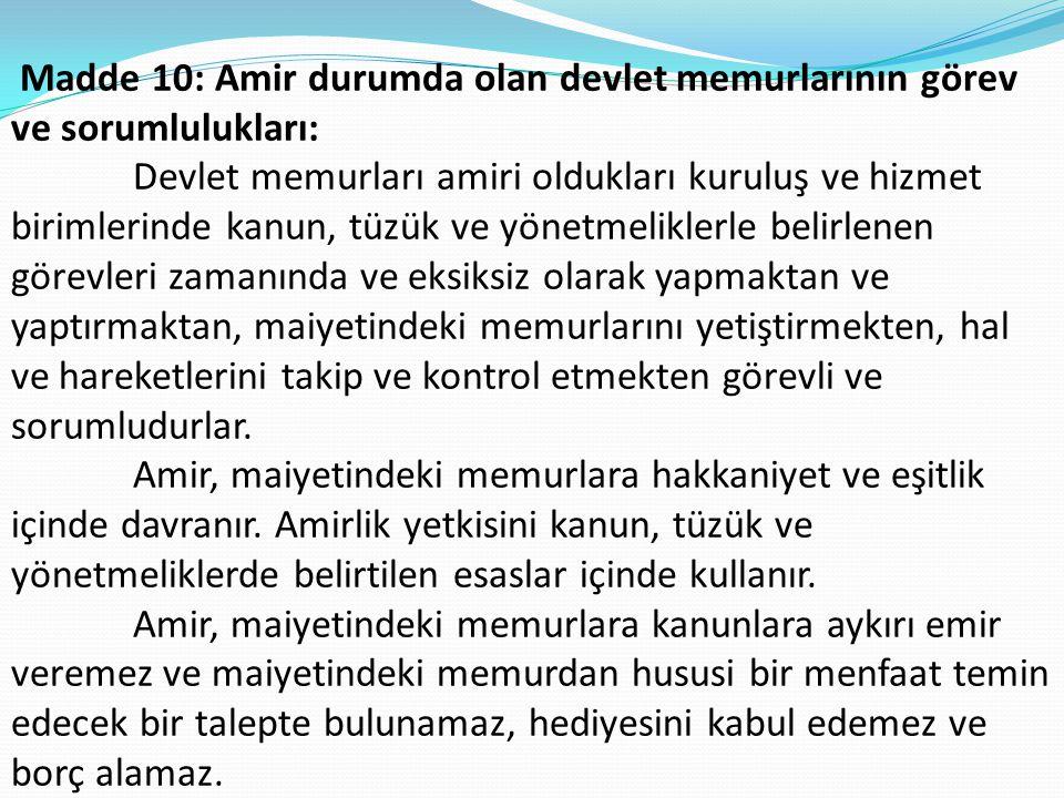 Madde 10: Amir durumda olan devlet memurlarının görev ve sorumlulukları: