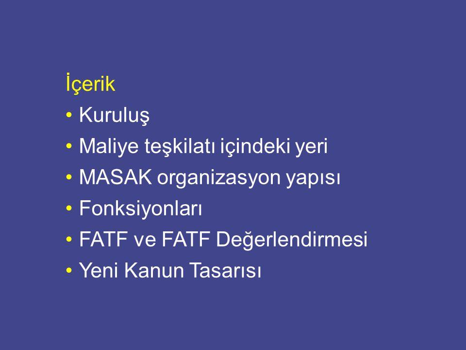 İçerik Kuruluş. Maliye teşkilatı içindeki yeri. MASAK organizasyon yapısı. Fonksiyonları. FATF ve FATF Değerlendirmesi.