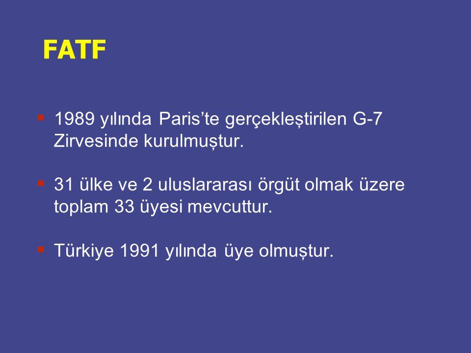 FATF 1989 yılında Paris'te gerçekleştirilen G-7 Zirvesinde kurulmuştur. 31 ülke ve 2 uluslararası örgüt olmak üzere toplam 33 üyesi mevcuttur.