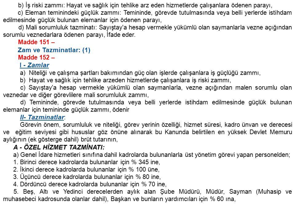 Zam ve Tazminatlar: (1) I - Zamlar