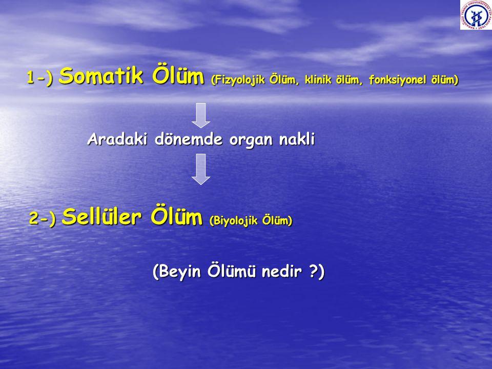 1-) Somatik Ölüm (Fizyolojik Ölüm, klinik ölüm, fonksiyonel ölüm)