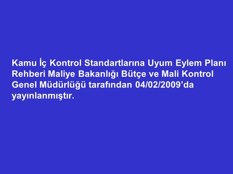 Kamu İç Kontrol Standartlarına Uyum Eylem Planı Rehberi Maliye Bakanlığı Bütçe ve Mali Kontrol Genel Müdürlüğü tarafından 04/02/2009'da yayınlanmıştır.