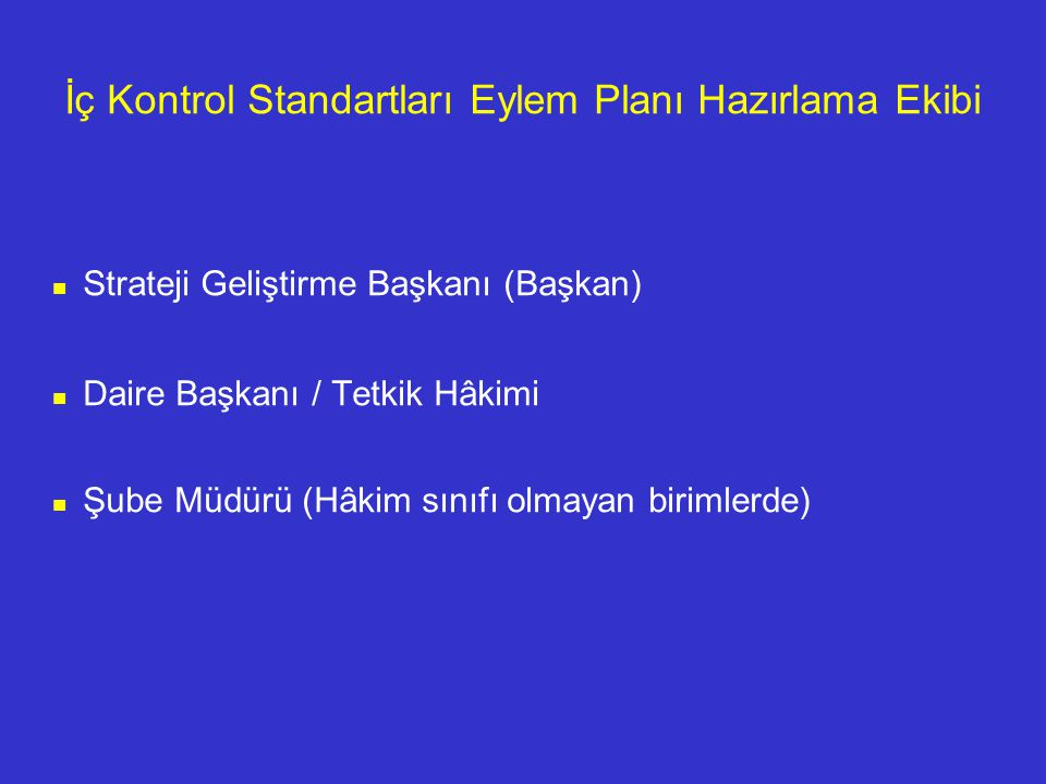 İç Kontrol Standartları Eylem Planı Hazırlama Ekibi