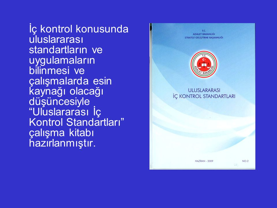 İç kontrol konusunda uluslararası standartların ve uygulamaların bilinmesi ve çalışmalarda esin kaynağı olacağı düşüncesiyle Uluslararası İç Kontrol Standartları çalışma kitabı hazırlanmıştır.