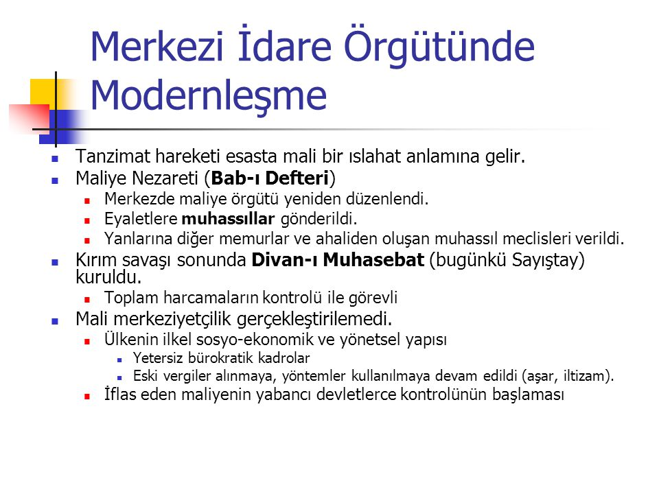 Merkezi İdare Örgütünde Modernleşme