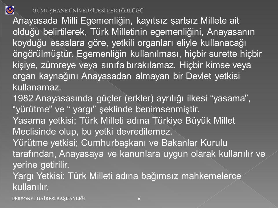 Yargı Yetkisi; Türk Milleti adına bağımsız mahkemelerce kullanılır.