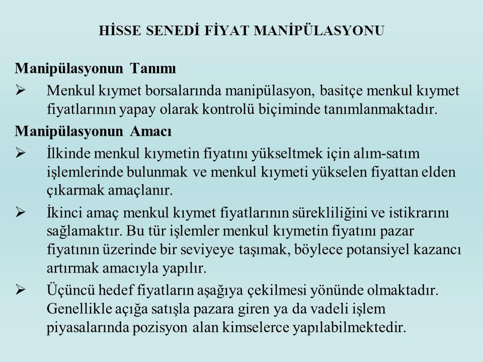 HİSSE SENEDİ FİYAT MANİPÜLASYONU