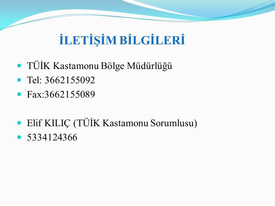 İLETİŞİM BİLGİLERİ TÜİK Kastamonu Bölge Müdürlüğü Tel: 3662155092