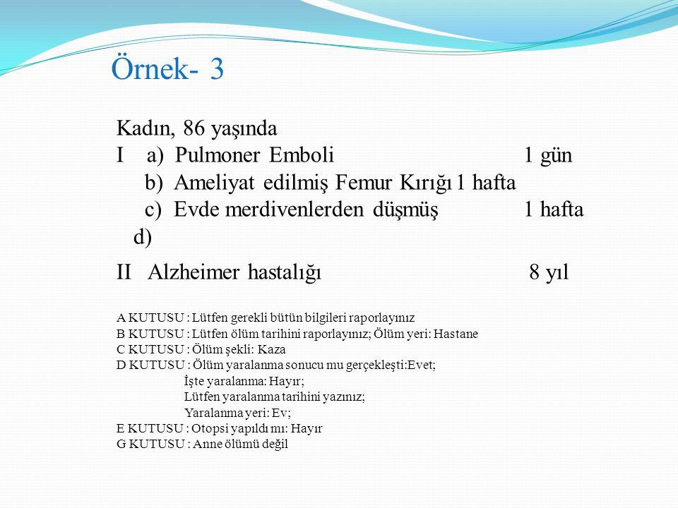 Örnek- 3 Kadın, 86 yaşında I a) Pulmoner Emboli 1 gün