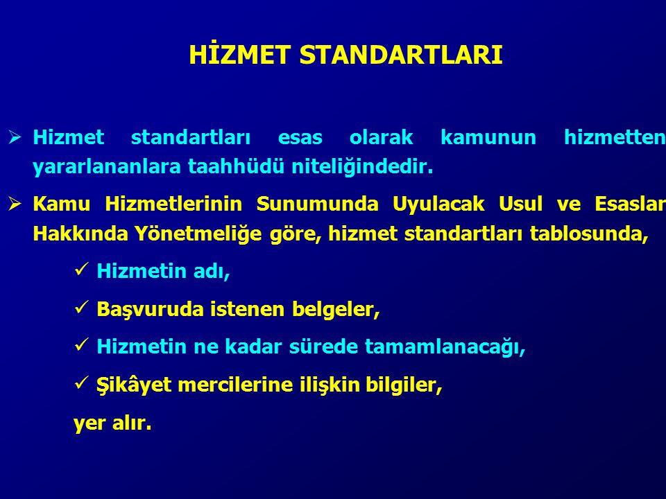 HİZMET STANDARTLARI Hizmet standartları esas olarak kamunun hizmetten yararlananlara taahhüdü niteliğindedir.