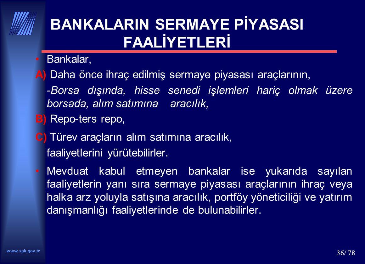 BANKALARIN SERMAYE PİYASASI FAALİYETLERİ